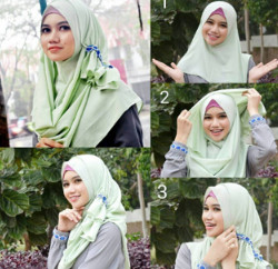 tutorial hijab simple segi empat 7
