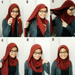 tutorial hijab simple segi empat 3