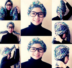 tutorial hijab segi empat berkacamata 10