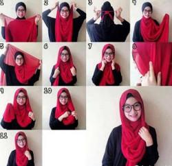 tutorial hijab segi empat berkacamata 2