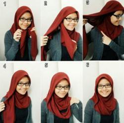 tutorial hijab segi empat berkacamata 3