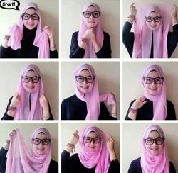 tutorial hijab segi empat berkacamata 4
