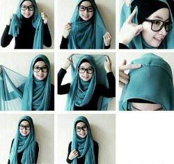 tutorial hijab segi empat berkacamata 5