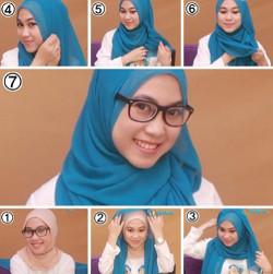 tutorial hijab segi empat berkacamata 6