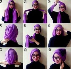tutorial hijab segi empat berkacamata 7