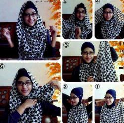 tutorial hijab segi empat berkacamata 8