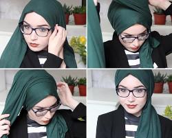 tutorial hijab segi empat berkacamata 9