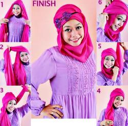 tutorial hijab pesta wajah bulat 9a
