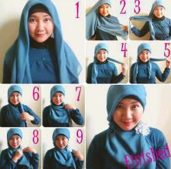 tutorial hijab pesta wajah bulat 8