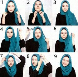 tutorial hijab segi empat simple wajah bulat 8