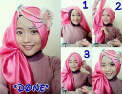 tutorial hijab pashmina simple wajah bulat 9a