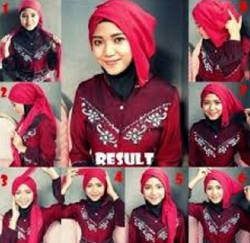 tutorial hijab segi empat simple wajah bulat 10