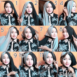tutorial hijab segi empat simple wajah bulat 9