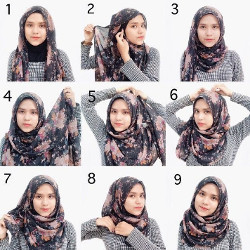 tutorial hijab segi empat simple wajah bulat 7
