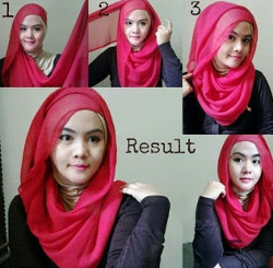 tutorial hijab segi empat simple wajah bulat 5
