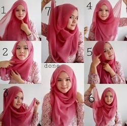 tutorial hijab segi empat simple wajah bulat 4