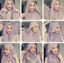 tutorial hijab segi empat simple wajah bulat 3