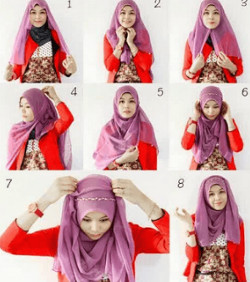 tutorial hijab segi empat simple wajah bulat 2