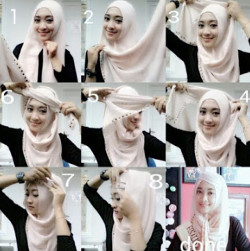 tutorial hijab segi empat simple wajah bulat 1