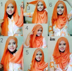 tutorial hijab pashmina simple wajah bulat 10