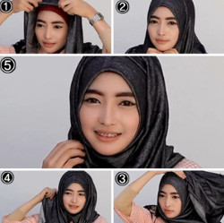 tutorial hijab pashmina simple wajah bulat 8