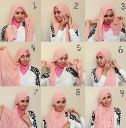 tutorial hijab pashmina simple wajah bulat 7