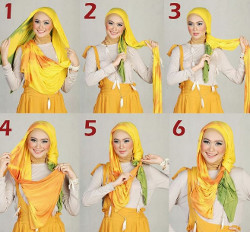 tutorial hijab pashmina simple wajah bulat 6