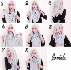 tutorial hijab pashmina simple wajah bulat 4