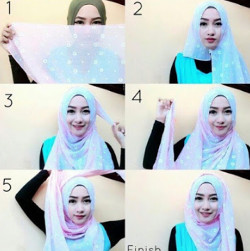 tutorial hijab pashmina simple wajah bulat 3