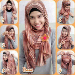 tutorial hijab pashmina simple wajah bulat 1