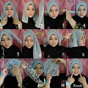 Tutorial Hijab dengan Aksesoris Kepala 1