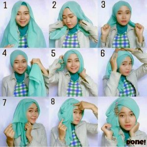 Tutorial Hijab dengan Aksesoris Kepala 3