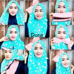 Tutorial Hijab dengan Aksesoris Kepala 2