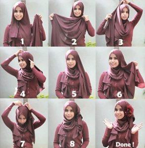 Tutorial Hijab dengan Aksesoris Kepala 4