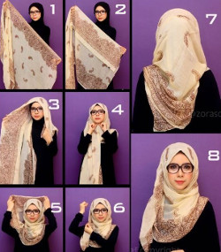 tutorial hijab paris berkacamata 7a