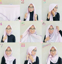 tutorial hijab paris berkacamata 3