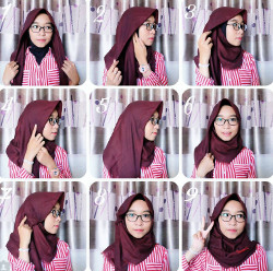 tutorial hijab paris berkacamata 6
