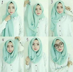 tutorial hijab paris berkacamata 8