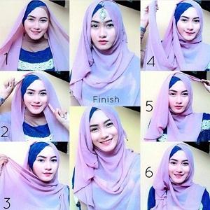 Tutorial Hijab dengan Aksesoris Kepala 17