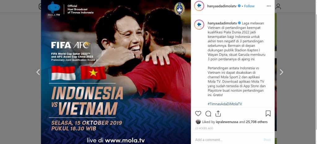 jadwal pertandingan indonesia vs vietnam di mola tv