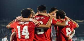 selebrasi pemain manchester united di pertndingan FK Partizan Vs Manchester United