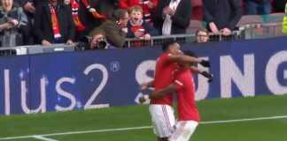 Selebrasi Manchester United usai cetak gol 3-1 ke gawang Brighton