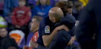 Selebrasi gol Nacho memeluk Zidane