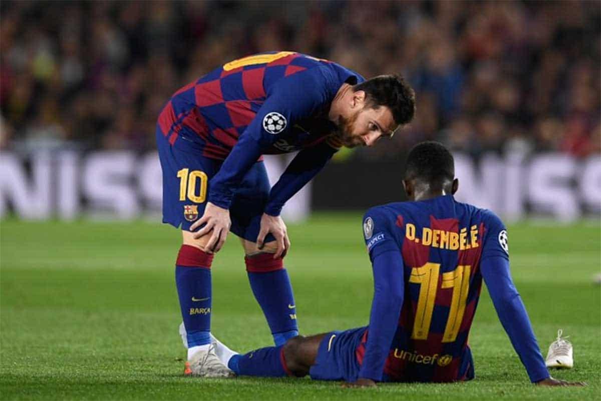 foto Ousmane Dembele dan Lionel Messi - Barcelona