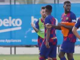 foto Lionel Messi dan Ansu Fati