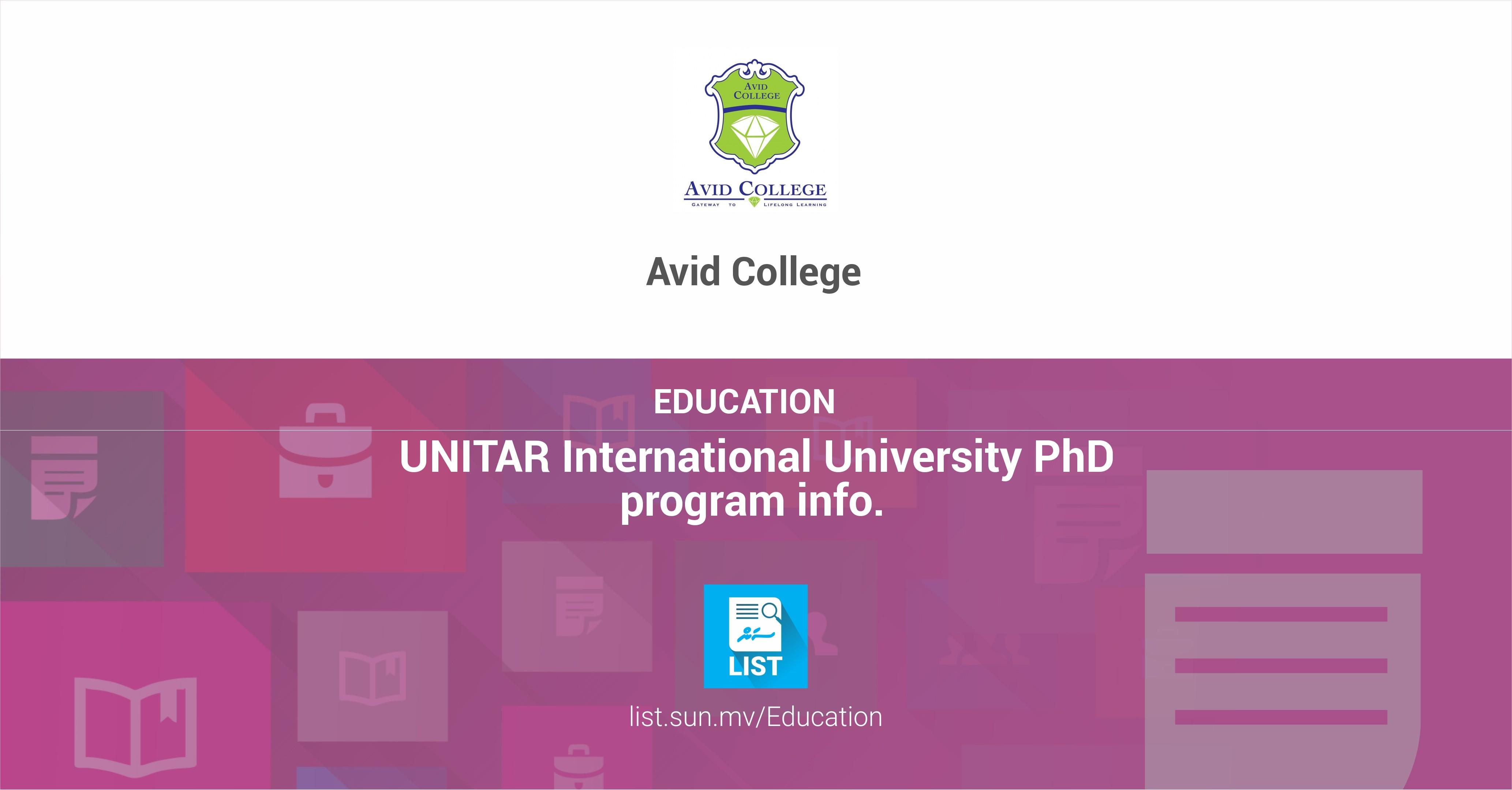 UNITAR International University PhD program info