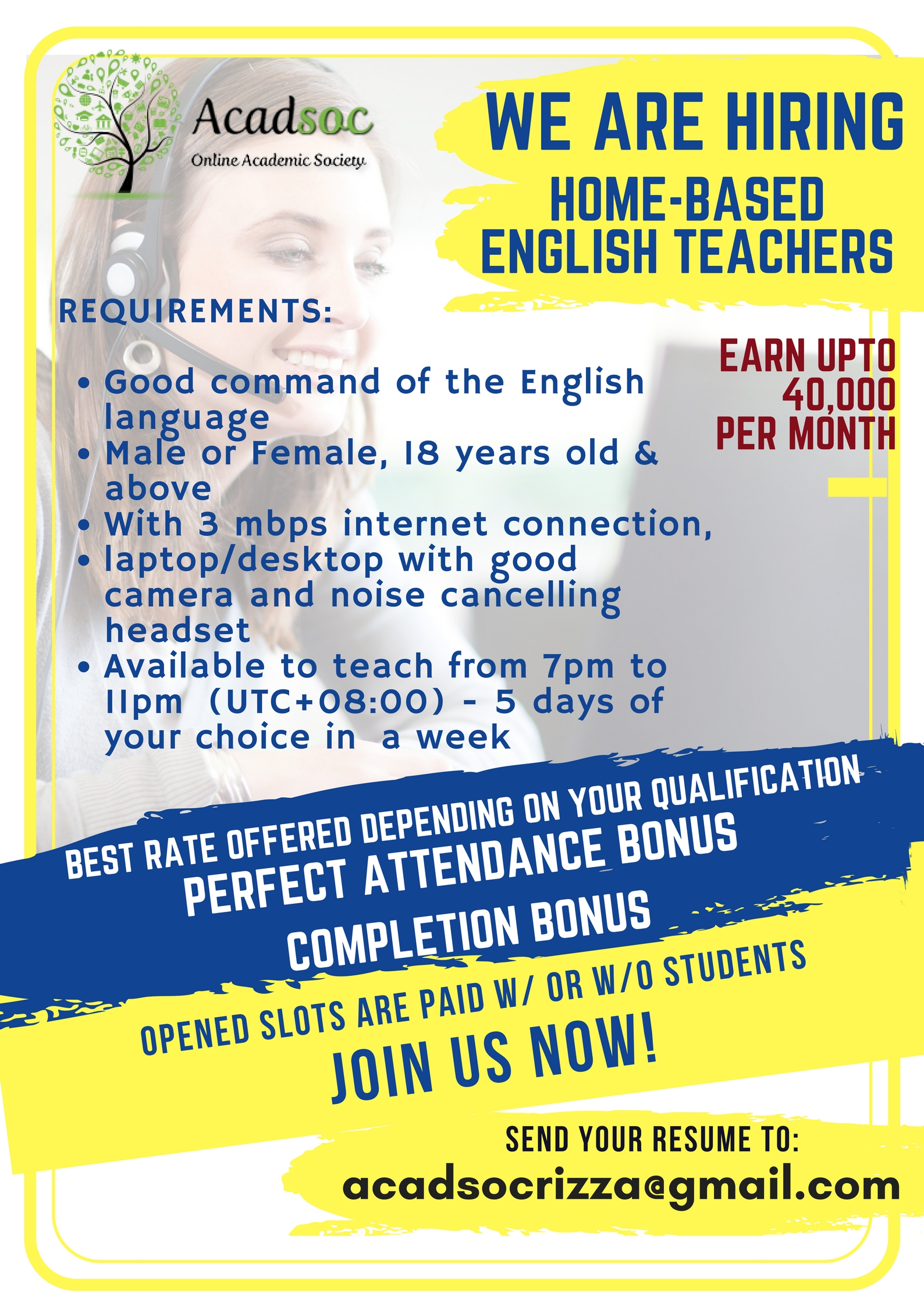 Home Based Online English Teacher from ACADSOC