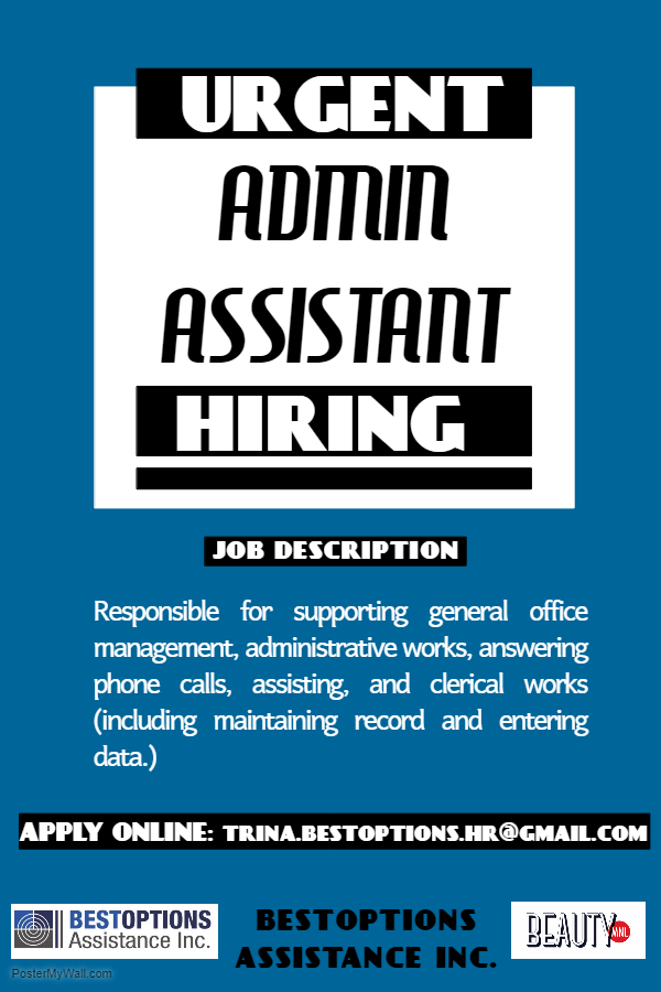 Admin Assistant from BESTOPTIONS ASSISTANCE INC.