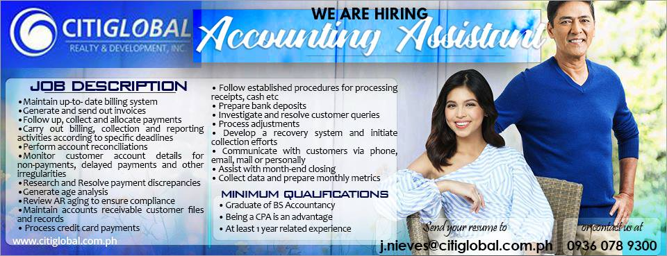 Accounting Assistant from citiglobal Realty and development inc.
