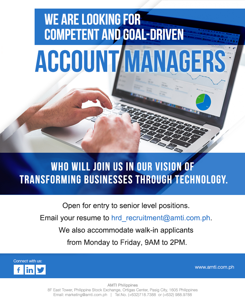 Sales Executive/ Account Manager from AMTI